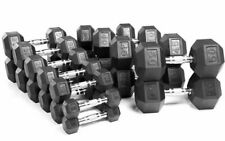 Weider Rubber Hex Chrome Dumbbells 5, 10, 15, 20, 25, 30, 35, or 40 lb Pairs LBS