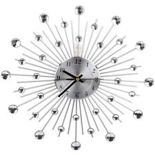 reloj de pared cm diamante con cuentas de cristal joyas sunburst artesanal plata nuevo