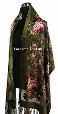 Elegant Olive Vintage Floral 100% Silk Burnout Velvet Oblong Shawl Wrap Scarf
