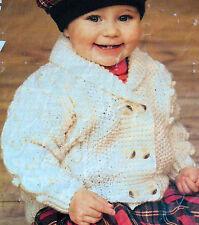 "1503 ARAN BABY BOY GIRL CABLE JACKET 16""-24"" 41-61cm VINTAGE KNITTING PATTERN"