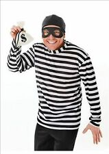 Mens Burglar Robber Black White Stripe Fancy Dress Costume Outfit