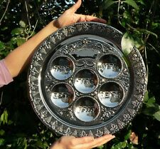 Large Passover Seder Plate Tray Silver Tone Pesach Jewish Kosher Pesah Food Meal