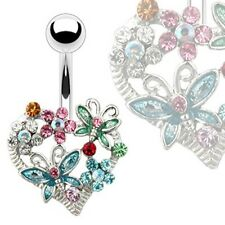 Surgical Stainless Steel Heart Belly Navel Bar With Butterflies & Flowers
