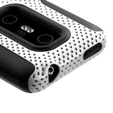 White MESH Hybrid Hard Silicone Rubber Gel Skin Case Cover for HTC EVO 3D