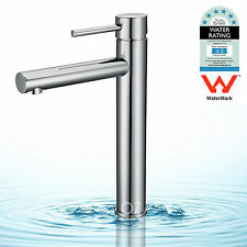 WELS Brass Round Tall Basin Mixer Bathroom Vanity Vessel Faucet Sink Tap Chrome