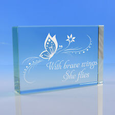 Inspirational Quote Butterfly Glass Token Gift, Motivational Paperweight For Her