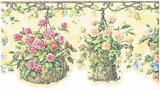 DIE-CUT PINK & YELLOW FLOWERS IN BASKETS Wallpaper bordeR Wall Decor