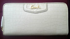 $248 NEW COACH ASHLEY EMBOSSED EXOTIC LEATHER ZIP AROUND WALLET PURSE IVORY