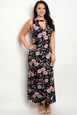 Womens Plus Size Black Floral Cold Shoulder Maxi Dress 2XL New