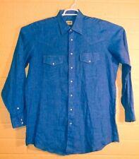 Vintage Gitman Bros Men's Indigo Blue linen Pearl Snap Western Sz Xl Made In Usa