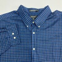 Eddie Bauer Button Up Shirt Men's Size 3XLT Long Sleeve Blue Plaid Wrinkle Free