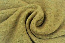 C131 BOILED WOOL BLEND PLAIN RUSTIC KNIT NATURAL HEATHER TONES MADE IN ITALY