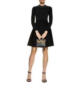 NWT Sandro $495 Vanessa Black Pearl Embellished Long Sleeve Knit Dress Sz 3 M-L