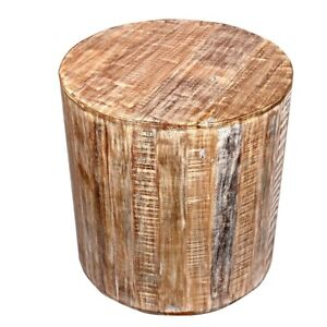 Reclaimed 18 inch Round  distressed Side table   Accent Table   End Table