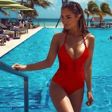 New Women One Piece Bathing Monokini Push Up Padded Bikini Swimsuit Swimwear US
