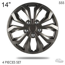 "FOR TOYOTA  NEW 14"" ABS GUNMETAL LUG STEEL WHEEL HUBCAPS COVER 555"