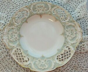 Antique Rare Blue glazed KPM Reticulated Footed Serving Dish