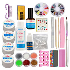 Nail Art DIY Kit UV Gel Clear White Pink False French Tips Glitter Powder Glue
