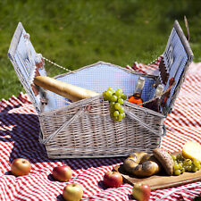 Outsunny Picnic Basket 4 People Dining Set Hamper Wicker Cutlery Outdoor Camping