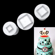 3pcs Square Cake Decorating Baking Mold Gum Paste Plunger Cookie Cutter Set New