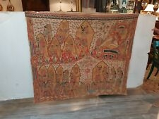 Antique Indonesian Bali Asian Painting on Fabric Batik  Tapestry