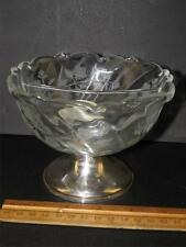 EMPIRE Edged Crystal Floral Sterling Silver Footed Bowl Condiment Candy Dish