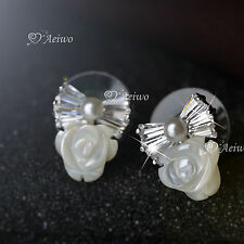 18k rose white gold 925 silver crystal bow tie flower stud earrings pearl shell