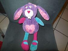 doudou peluche lapin Ficelle violet rose cotelé INFLUX CORA  (2 dispo)