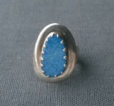 SOLID SILVER FLASH BLUE OPAL RING SIZE M1/2 925 STERLING