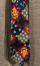 Mens WALT DISNEY Iside Europa Mickey Mouse Floral Plaid Silk Necktie Tie