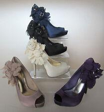 Anne Michelle Peep Toe Slim Textile Shoes for Women