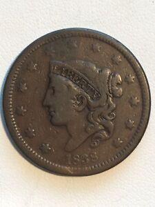 1838 Coronet Large Cent #614