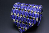 LUCIANO BARBERA Silk Tie. Blue w Yellow Floral. Made in Italy.