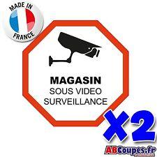 2 Stickers Autocollants Magasin sous vidéo surveillance - 9cm Boutique Commerce
