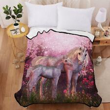 3D Parent-child Unicorn Velvet Plush Throw Blanket Sherpa Bedding Thin Quilt