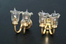 2pc Electric Oil Light Wall Sconces Brass Glass Dollhouse Miniature Furniture
