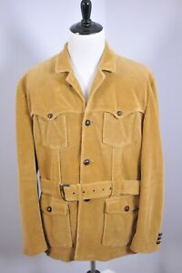 Polo Ralph Lauren Corduroy Lined Belted Jacket Light Brown Men's XXL