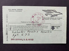 Puerto Rico 1972, USPS FORM 3811, Salvador Morales San German