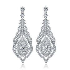 All AAA Cubic Zirconia CZ Pierced Earrings Wedding Party Prom Pageant 5cm Long