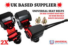 2x Universal Red 3 Point Seat Belts 3m Length & 30cm Wire Buckle Ends. UK. E4.