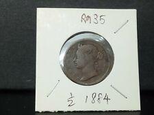 1/2 cent 1884 strait victoria --vfine condition