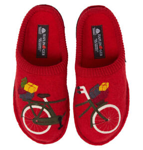 HAFLINGER Bicycle Comfort SLIPPERS 37 6 Red Boiled WOOL NEW