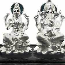 Ganesh & Lakshmi / Laxmi Pure Silver (999) Idol / Statue / Murti (Figurine# 06)