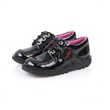 KICKERS Kick Lo Junior Black/Pink GIRLS SCHOOL SHOE UK 2 EUR 34 REF 6191+