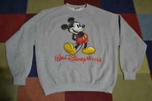 VTG 90s Walt Disney World Mickey Mouse Gray Crewneck Sweatshirt Men's L Made USA