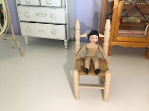 """❤️ HITTY Doll Woven Chair Beige By Gail Wilson For 8-12 """" Hitty or Peg Wooden"""