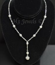 18k solid white gold filigree lariat necklace 18 inches h3jewels #2201 8.60 gram