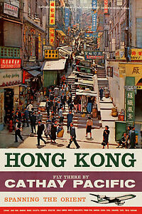 Busy Street in Hong Kong vintage  travel poster Repro