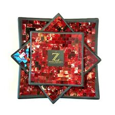 Mosaic Plates Set of 3 Vibrant Red by Zenda Imports (Direct Importer)