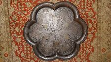 Antique Chinese Iron Tray Gold & Silver Inlaid Indian ? Islamic ? Persian ?